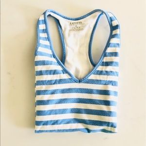 Express Periwinkle Blue Striped Racerback Top, XS